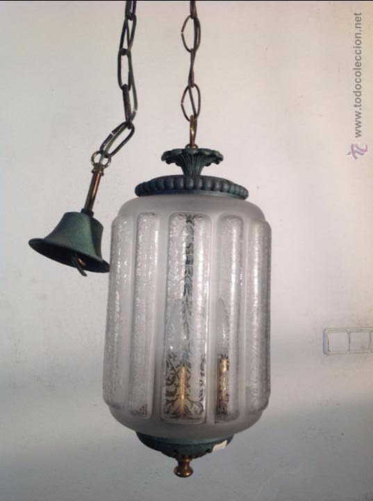 FAROL CERRADO GRABADO AL ACIDO (Antigüedades - Iluminación - Faroles Antiguos)
