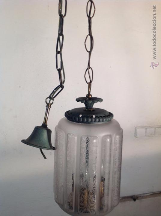 Antigüedades: FAROL CERRADO GRABADO AL ACIDO - Foto 7 - 54912289