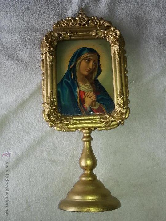 ANTIGUO RELICARIO DE LA SANTA FAZ Y LA DOLOROSA EN MADERA TALLADA FINALES S. XIX (Antigüedades - Religiosas - Relicarios y Custodias)