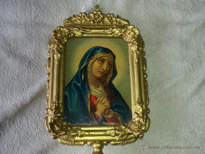 Antigüedades: ANTIGUO RELICARIO DE LA SANTA FAZ Y LA DOLOROSA EN MADERA TALLADA FINALES S. XIX - Foto 2 - 54925814