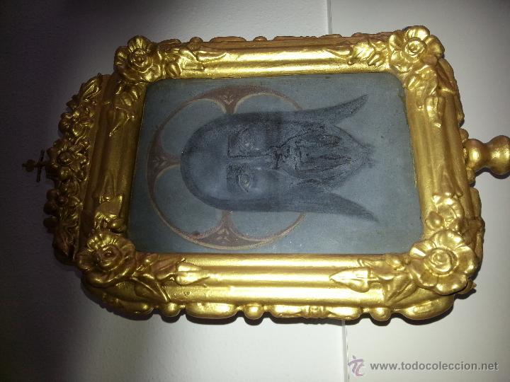 Antigüedades: ANTIGUO RELICARIO DE LA SANTA FAZ Y LA DOLOROSA EN MADERA TALLADA FINALES S. XIX - Foto 4 - 54925814