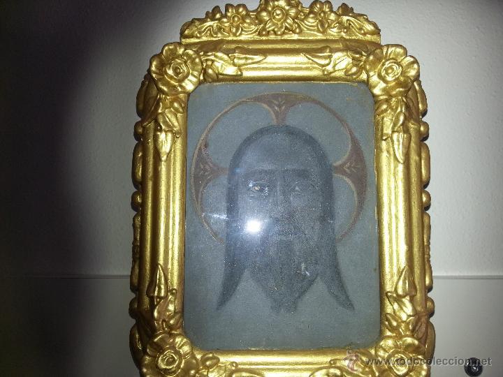 Antigüedades: ANTIGUO RELICARIO DE LA SANTA FAZ Y LA DOLOROSA EN MADERA TALLADA FINALES S. XIX - Foto 6 - 54925814