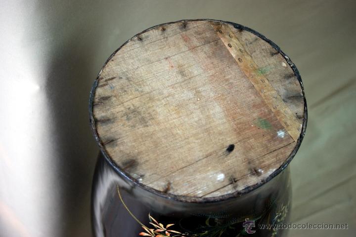 Antigüedades: GRAN JARRÓN CHINO EN LACA NEGRA CON DECORACION INCISA DE AVES - S. XIX - RARO - Foto 2 - 54927697