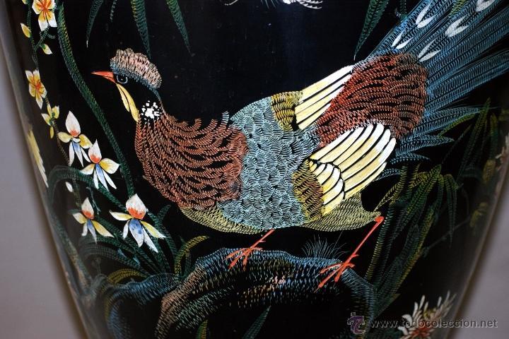 Antigüedades: GRAN JARRÓN CHINO EN LACA NEGRA CON DECORACION INCISA DE AVES - S. XIX - RARO - Foto 3 - 54927697