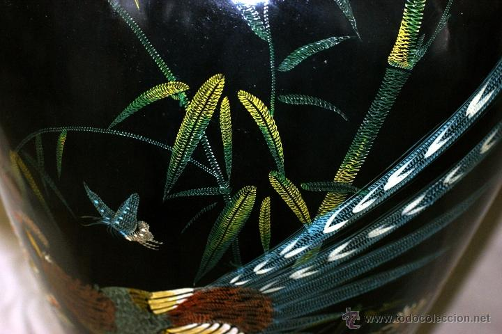 Antigüedades: GRAN JARRÓN CHINO EN LACA NEGRA CON DECORACION INCISA DE AVES - S. XIX - RARO - Foto 4 - 54927697