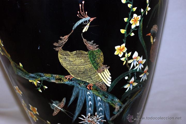 Antigüedades: GRAN JARRÓN CHINO EN LACA NEGRA CON DECORACION INCISA DE AVES - S. XIX - RARO - Foto 7 - 54927697
