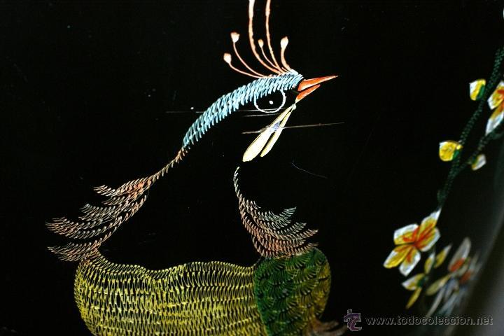 Antigüedades: GRAN JARRÓN CHINO EN LACA NEGRA CON DECORACION INCISA DE AVES - S. XIX - RARO - Foto 12 - 54927697