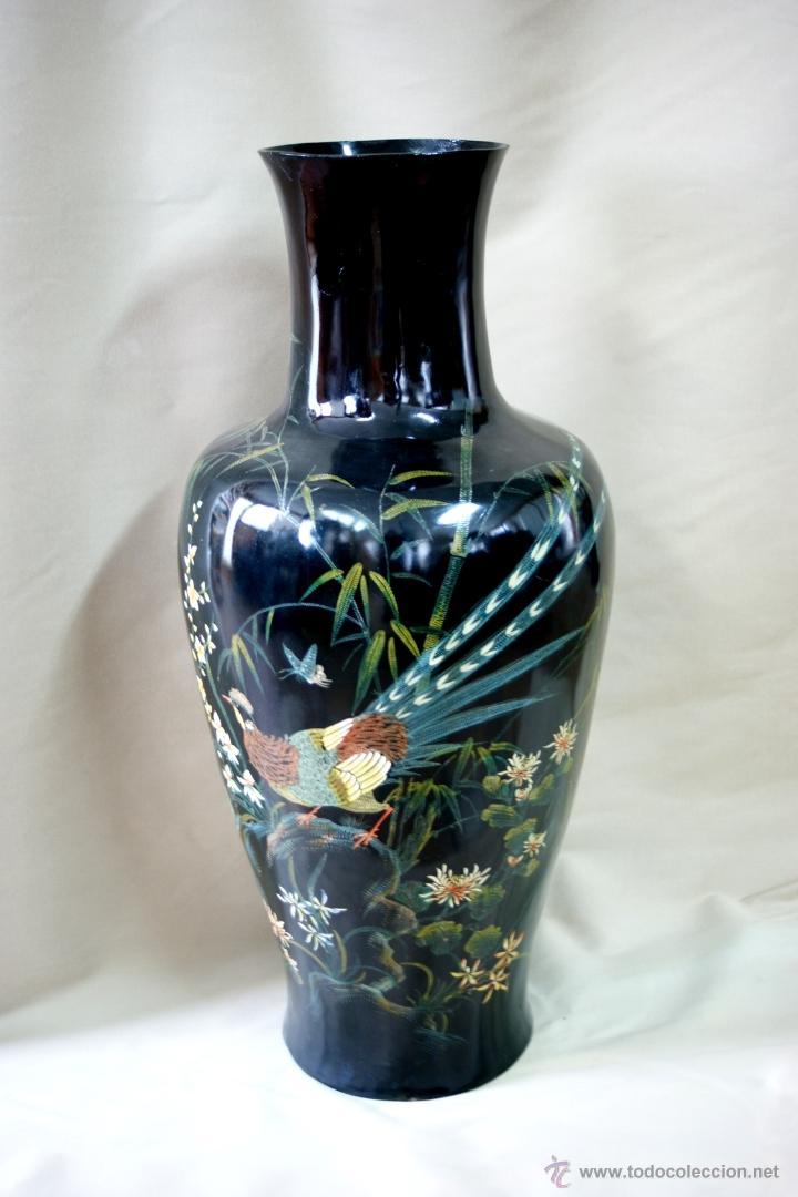 Antigüedades: GRAN JARRÓN CHINO EN LACA NEGRA CON DECORACION INCISA DE AVES - S. XIX - RARO - Foto 16 - 54927697