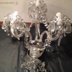 Antigüedades: APLIQUE DE TRES LUCES DE CRISTAL. Lote 54932306
