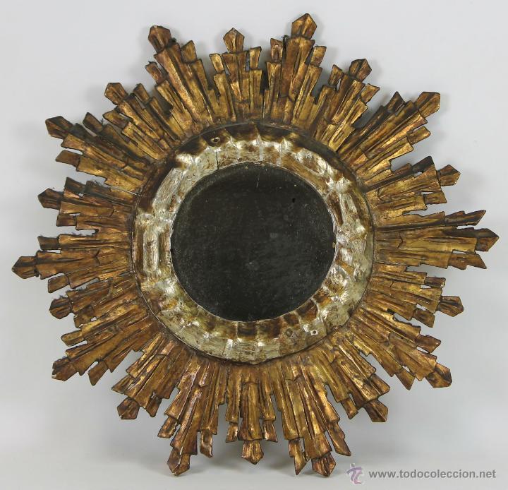 espejo en forma de sol en madera tallada y poli Comprar Espejos