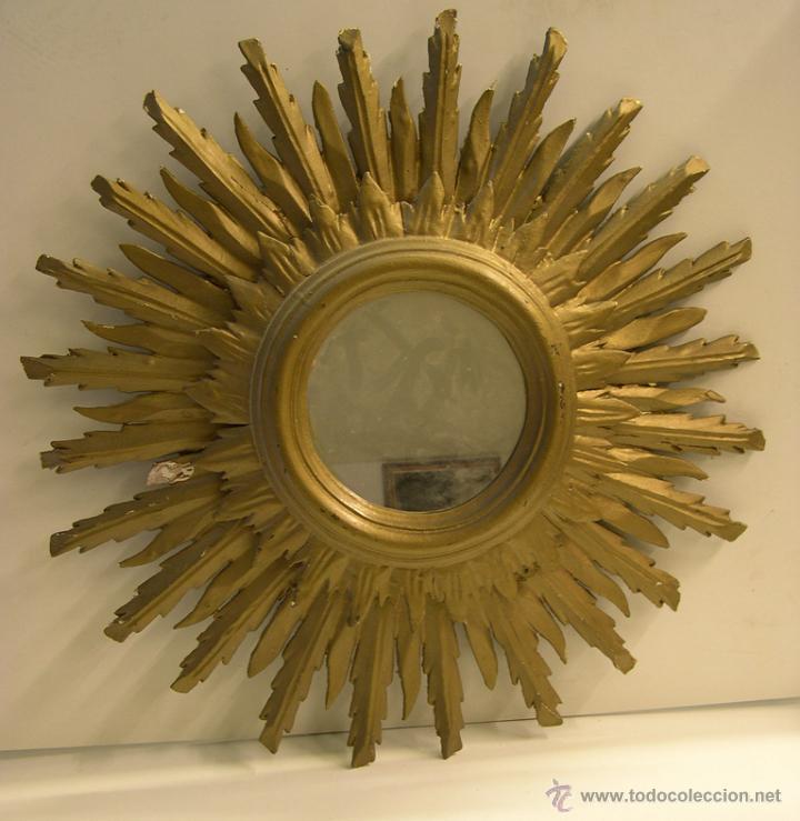 espejo en forma de sol madera tallada