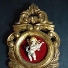 Antigüedades: ANTIGUA CORNUCOPIA PAN DE ORO CON PRECIOSO ANGELITO. Lote 54971843