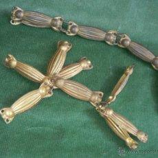 Antigüedades: ANTIGUO JUEGO 16 PIEZAS LATON RECUBRIMIENTO DE CABLEADO - AÑOS 20-30. Lote 54975579