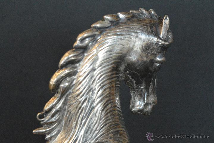 Antigüedades: ESPECTACULAR CALIENTA COPAS DE ALPACA FIGURA CABALLO MECHERO CALENTADOR PARA COPA DE COÑAC - Foto 4 - 56160616