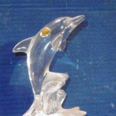 Antigüedades: EXQUISITO DELFIN CRISTAL ARQUES EN DOS TONOS BRILLANTE MATE 17 CMS. Lote 54989003