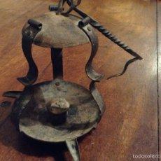 Antigüedades: PORTA VELAS DE HIERRO MUY ANTIGUO. Lote 54998855