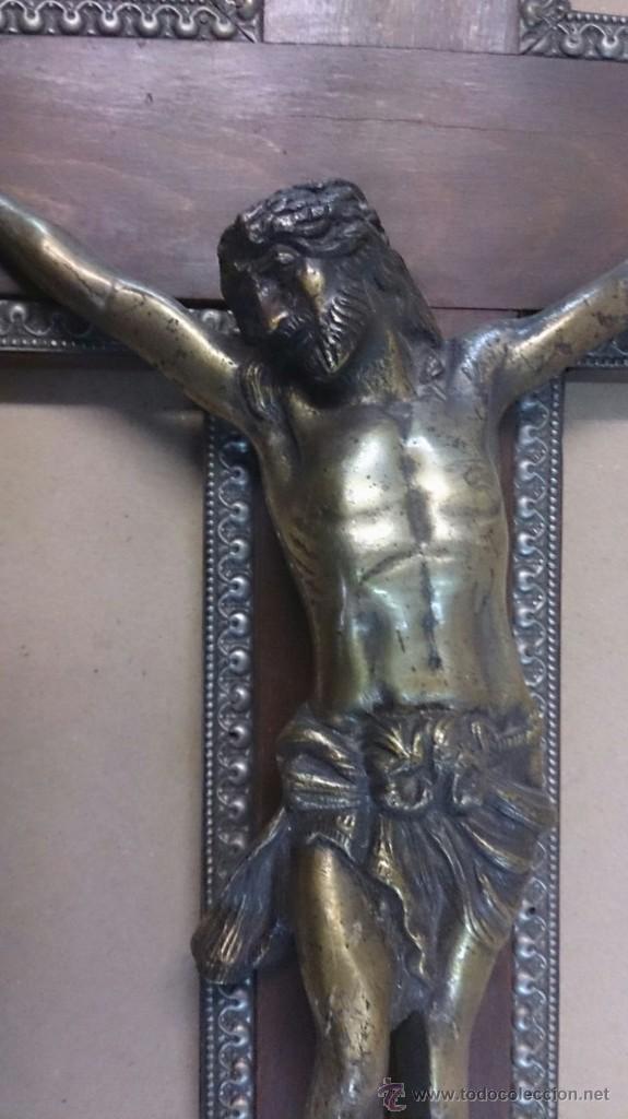 Antigüedades: Cruz en madera con cristo en bronce - Foto 3 - 55024032