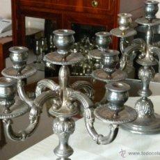 Antigüedades: CANDELABROS DE PLATA MUY ANTIGUOS. Lote 55034071