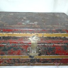 Antigüedades: MALETA - BAÚL METÁLICO, INGLES SIGLO XIX. Lote 55041881