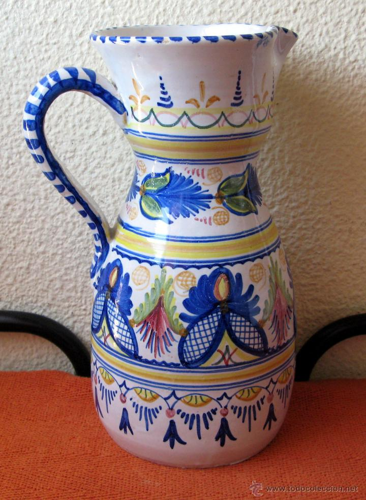 GRAN JARRÓN DE TALAVERA CON DECORACIÓN GRECAS, FLORES Y GUIRNALDAS.FIRMADO (Antigüedades - Porcelanas y Cerámicas - Talavera)
