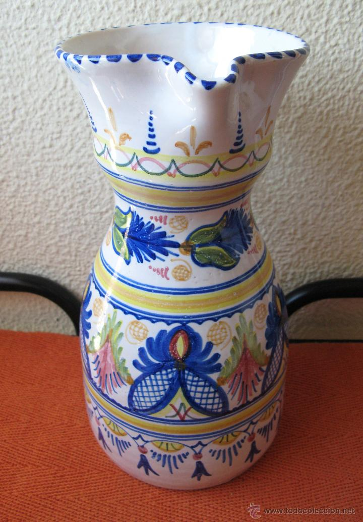 Antigüedades: Gran Jarrón de Talavera con Decoración Grecas, Flores y Guirnaldas.Firmado - Foto 4 - 55067353