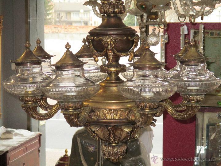 Antigua lampara de techo bronce 8 luces t comprar - Venta de lamparas antiguas ...