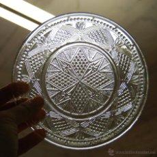 Antigüedades: PLATO DE CRISTAL TALLADO AÑO 1900 APROX. // LOTE DE TRES. Lote 55071972