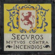 Antigüedades: AZULEJO EN CERAMICA ESMALTADA. SEGUROS MUTUOS CONTRA INCENDIOS. JOSE MENSAQUE. SIGLO XIX. . Lote 55075165