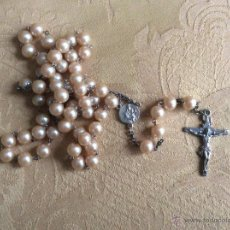 Antigüedades: PRECIOSO ROSARIO DE PERLAS ROSAS . Lote 55082975