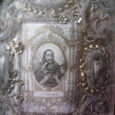 Antigüedades: ~~~~ PRECIOSO RELICARIO S.XIX, SAN JOSE, 4 RELIQUIAS, HILOS DE ORO Y PLATA ~~~~. Lote 55109871