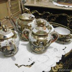 Antigüedades: TU Y YO JUEGO CAFE TE JAPON SATSUMA PORCELANA CLARA DE HUEVO FINISIMA. Lote 55114441