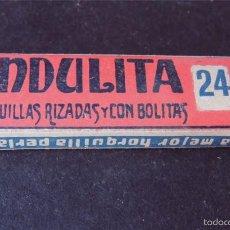 Antigüedades: CAJITA CON 16 HORQUILLAS RIZADAS Y CON BOLITAS / ONDULITA Nº 24 / COMPLETA. Lote 55119788