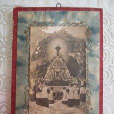 Antigüedades: MUY ANTIGUO CUADRITO DE LA VIRGEN DE MONSERRAT HECHO A MANO,FINALES XIX. Lote 55122988
