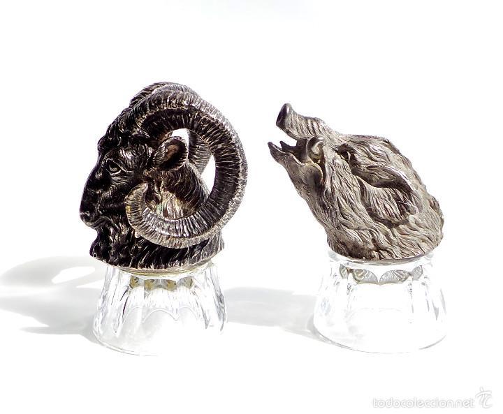 Antigüedades: PRECIOSAS COPAS PARA LICOR, ESCENAS DE CAZA. CABEZA DE MUFLÓN Y JABALÍ, METAL CON UN FUERTE CHAPADO - Foto 6 - 55137035