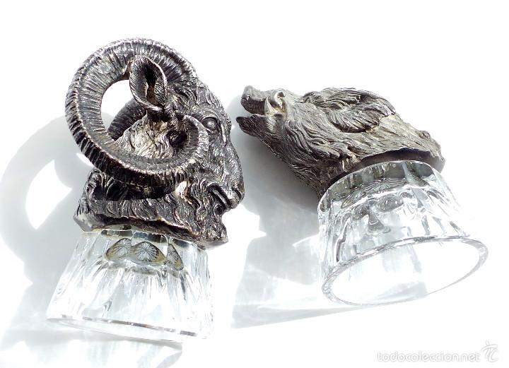 Antigüedades: PRECIOSAS COPAS PARA LICOR, ESCENAS DE CAZA. CABEZA DE MUFLÓN Y JABALÍ, METAL CON UN FUERTE CHAPADO - Foto 13 - 55137035