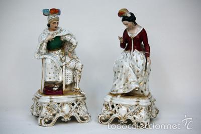 PAREJA DE FIGURAS DE PORCELANA VIEJO PARÍS (Antigüedades - Porcelanas y Cerámicas - Otras)