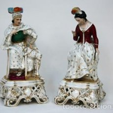Antigüedades: PAREJA DE FIGURAS DE PORCELANA VIEJO PARÍS. Lote 55140166