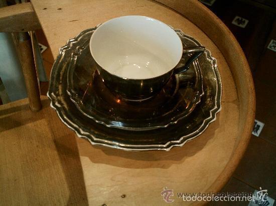 Antigüedades: Juego de merienda en porcelana Bavaria (FEINSILBER) ; BAÑO DE PLATA - 1000/1000 FEIN. Años 20 - 30 - Foto 3 - 55141798