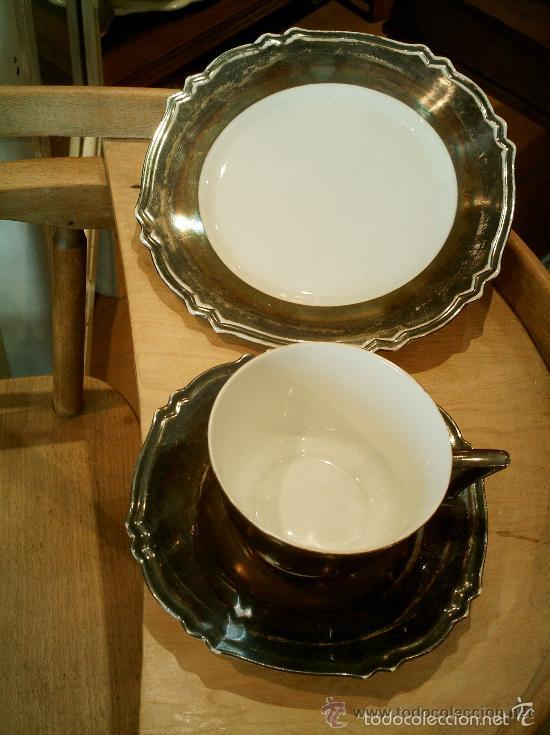 Antigüedades: Juego de merienda en porcelana Bavaria (FEINSILBER) ; BAÑO DE PLATA - 1000/1000 FEIN. Años 20 - 30 - Foto 5 - 55141798