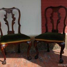 Antigüedades: DOS SILLAS ESTILO ISABELINAS MUY ANTIGUAS VER FOTOS. Lote 55146375