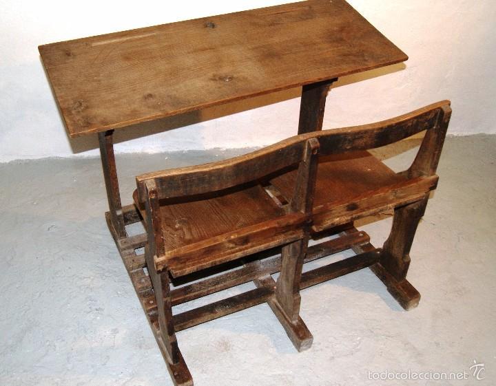 Pupitre escolar doble a os 40 50 algunas se a comprar for Recogida de muebles viejos