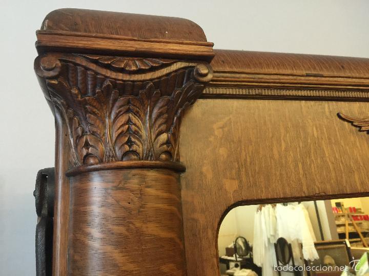 Antigüedades: Espectacular y rarisima cama plegable de roble Tigre. Pieza unica. Restaurada. - Foto 5 - 55180778