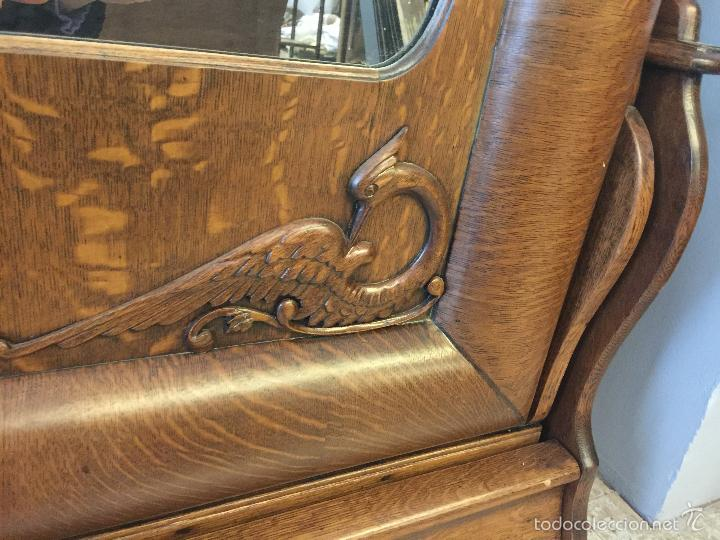Antigüedades: Espectacular y rarisima cama plegable de roble Tigre. Pieza unica. Restaurada. - Foto 6 - 55180778