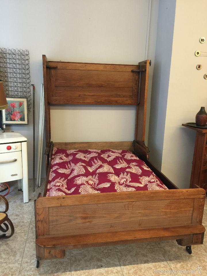 Antigüedades: Espectacular y rarisima cama plegable de roble Tigre. Pieza unica. Restaurada. - Foto 10 - 55180778