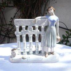 Antigüedades: PORCELANA ANTIGUA, ALEGORÍA ACUEDUCTO SEGOVIA. Lote 55223998