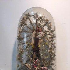 Antigüedades: PRECIOSO FANAL CON VIRGEN DE TERRACOTA.. Lote 89787752
