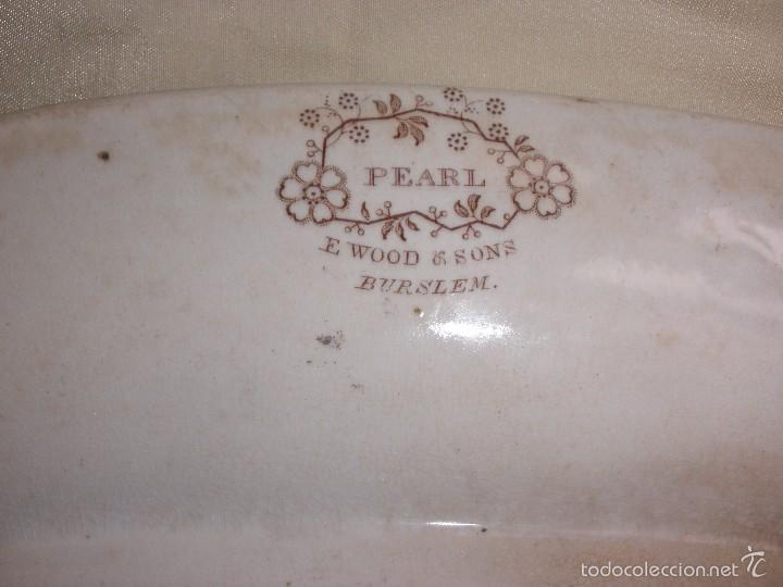Antigüedades: ANTIGUA FUENTE BANDEJA DE CERAMICA INGLESA PEARL E WOOD AND SONS BURSLEM SEMIPORCELANA PERLA? - Foto 9 - 55242526