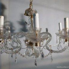 Antigüedades: LAMPARA DE CRISTAL DE 8 LUCES. Lote 55242580