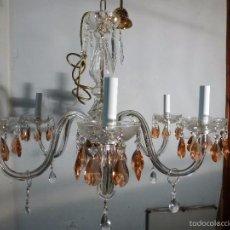 Antigüedades: LAMPARA DE CRISTAL CON PRISMAS DE COLOR. Lote 55242653