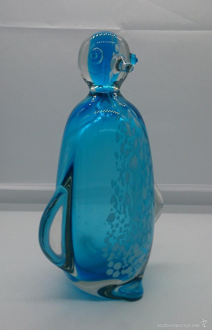 Antigüedades: Gran pisapapeles retro en cristal de murano autentico azul con motas blancas, medidos del siglo XX . - Foto 2 - 55267424